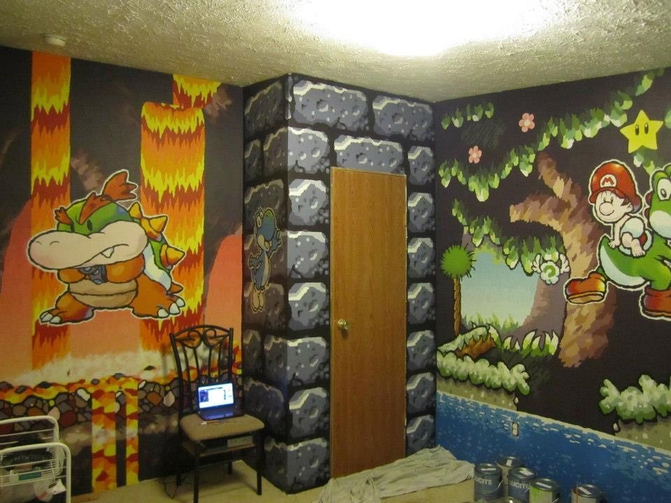 Best Guy Paints Awesome Mario Themed Room For A Friend With Pictures