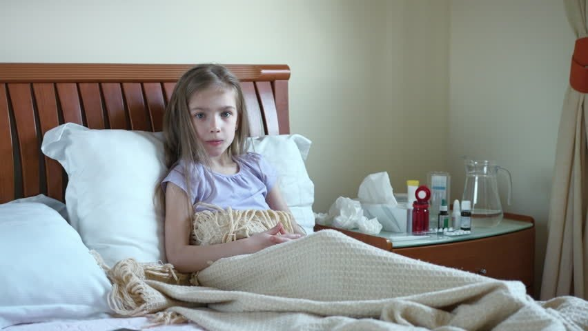 Best Sick Girl 7 Years Old Sneeze And Cough Into A Handkerchief With Pictures