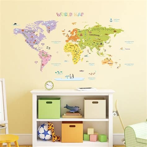 Best Galleon Decowall Dmt 1306N Colourful World Map Kids Wall Decals Wall Stickers Peel And Stick With Pictures