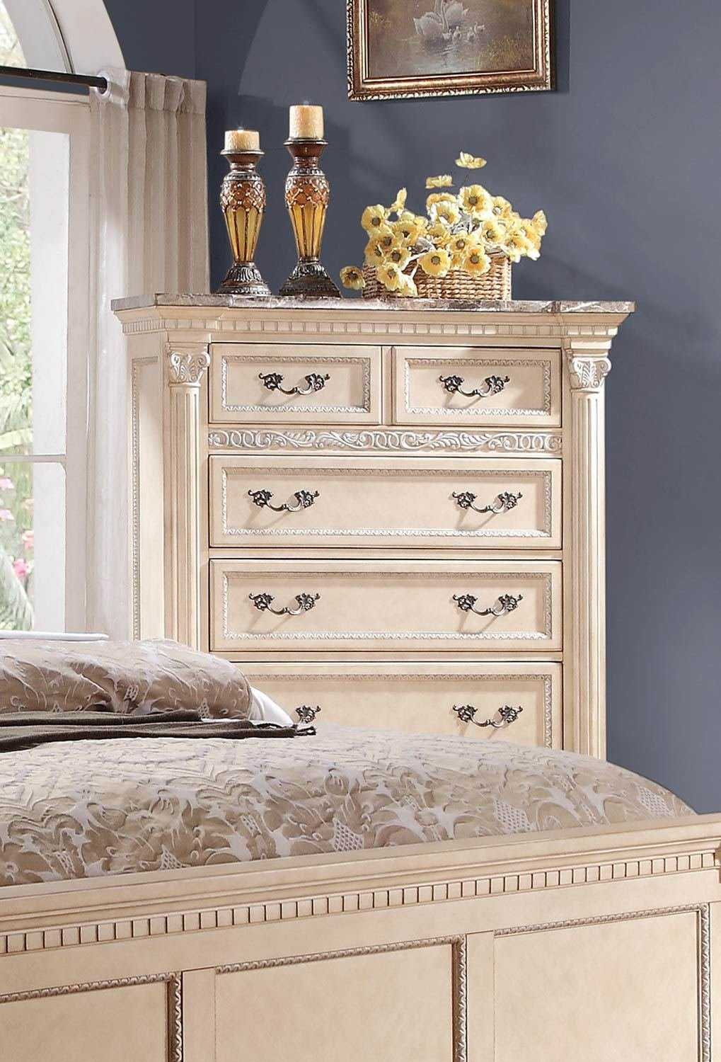 Best Homelegance Russian Hill Bedroom Set Antique White 1808W With Pictures