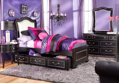 Best Sofia Vergara Kayla Black 5 Pc Twin Panel Bedroom T**N With Pictures