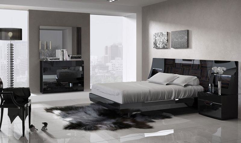 Best Esf Marbella Modern Black Wood Grain Lacquer Queen Size With Pictures