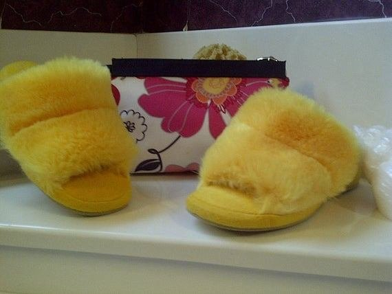 Best Oomphies Fuzzy Bedroom Slippers And Lancome Bag By With Pictures