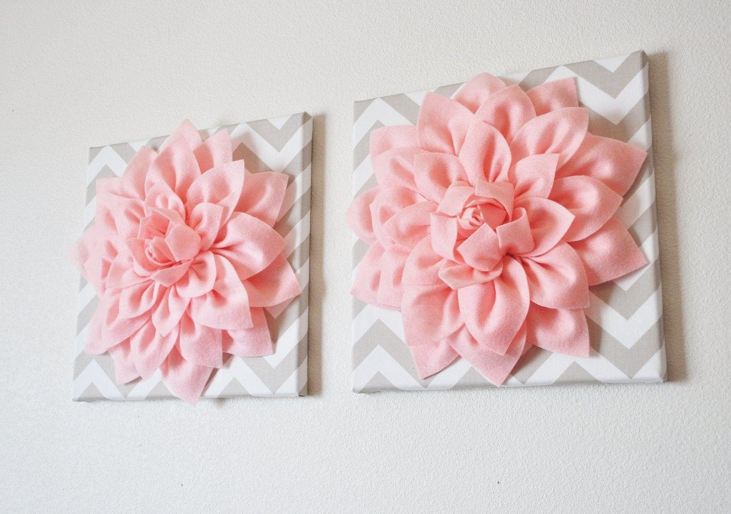Best Two Wall Flowers Light Pink Dahlia On Taupe And White Chevron With Pictures