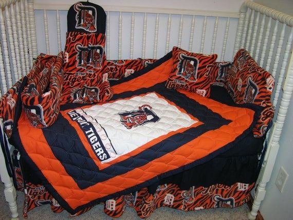 Best Crib Bedding Set M W Detroit Tigers Fabric With Pictures