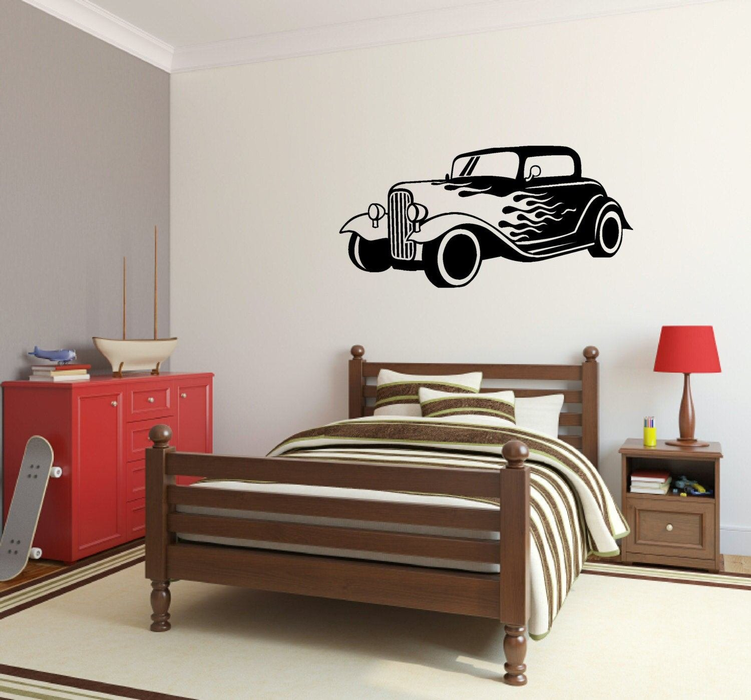 Best Hot Rod Car Wall Decal Boy Bedroom Decals Car Vinyl Decal Man With Pictures