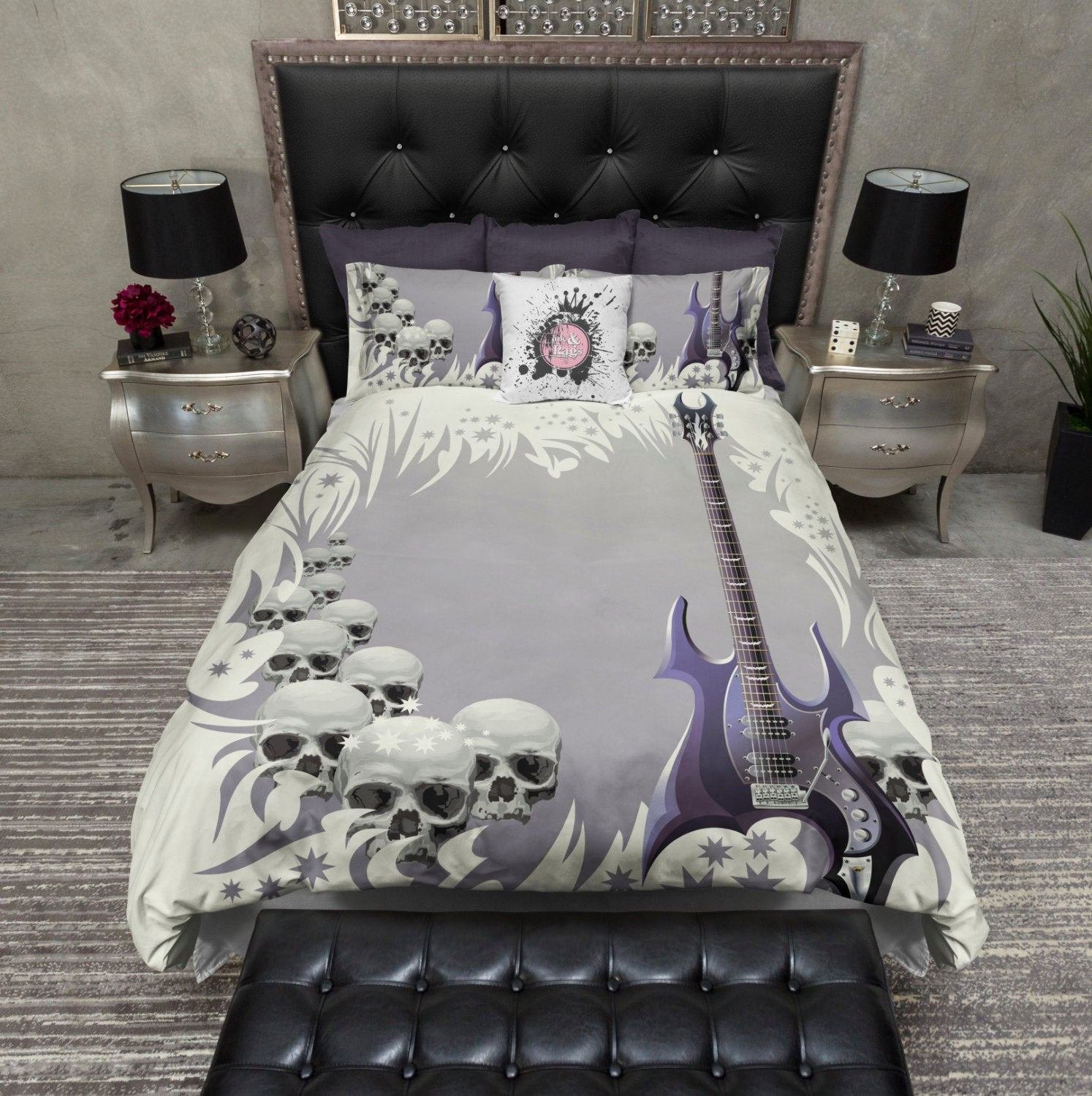 Best Featherweight Skull Bedding Guitar And Skull Print By Inkandrags With Pictures