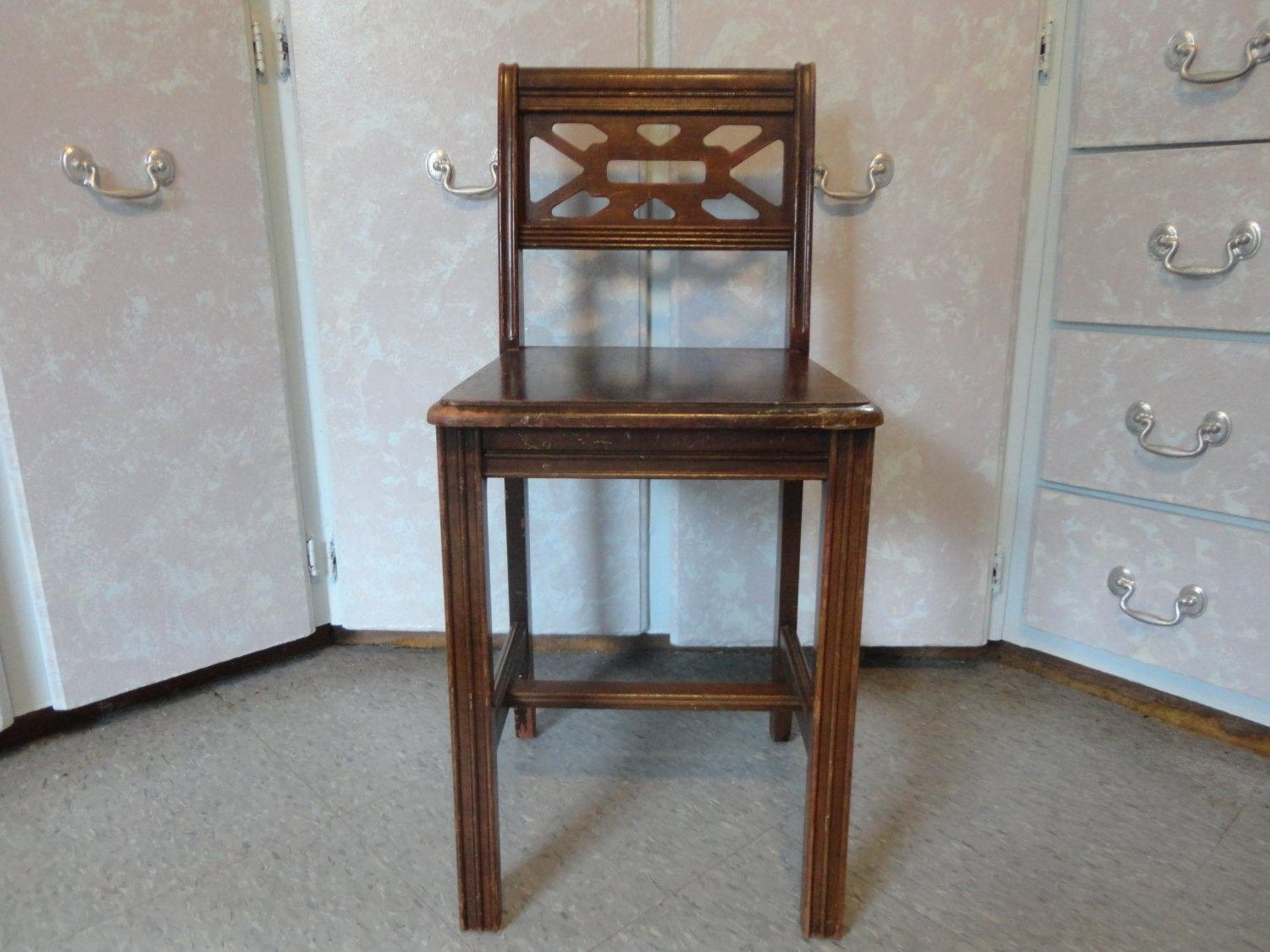 Best Vintage Vanity Wood Chair Low Back Wood Bedroom By Joansfinds With Pictures