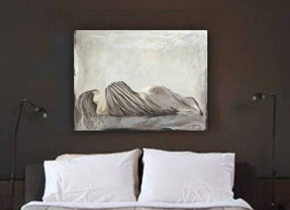 Best Very Large Wall Art Huge S*Xy Bedroom Greige Decor Canvas With Pictures