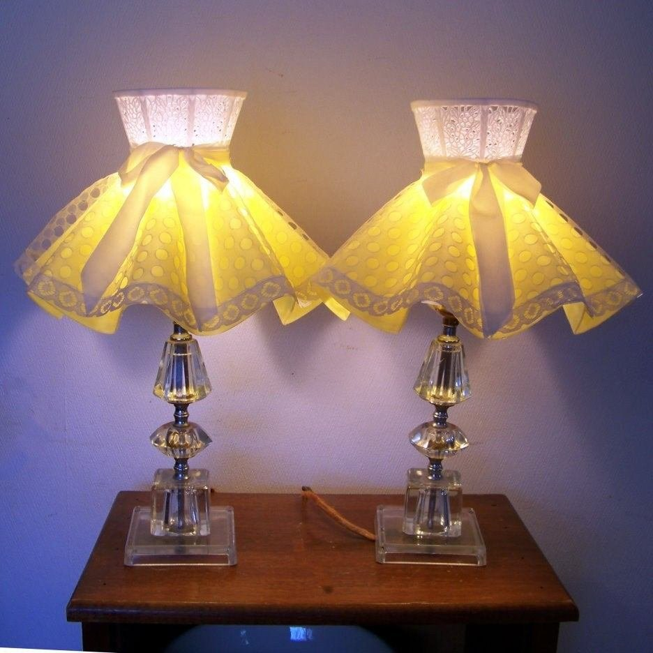 Best 50S Pair Glass Table Lamps Yellow Lace Shades Girls Bedroom With Pictures