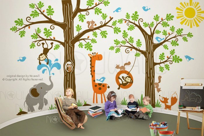 Best Kid Playroom Wall Decal Woodland Tree Animal Monkey With Pictures