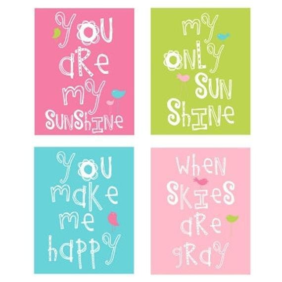 Best You Are My Sunshine 4 Pc Art Print Set For Girls Bedroom Or With Pictures