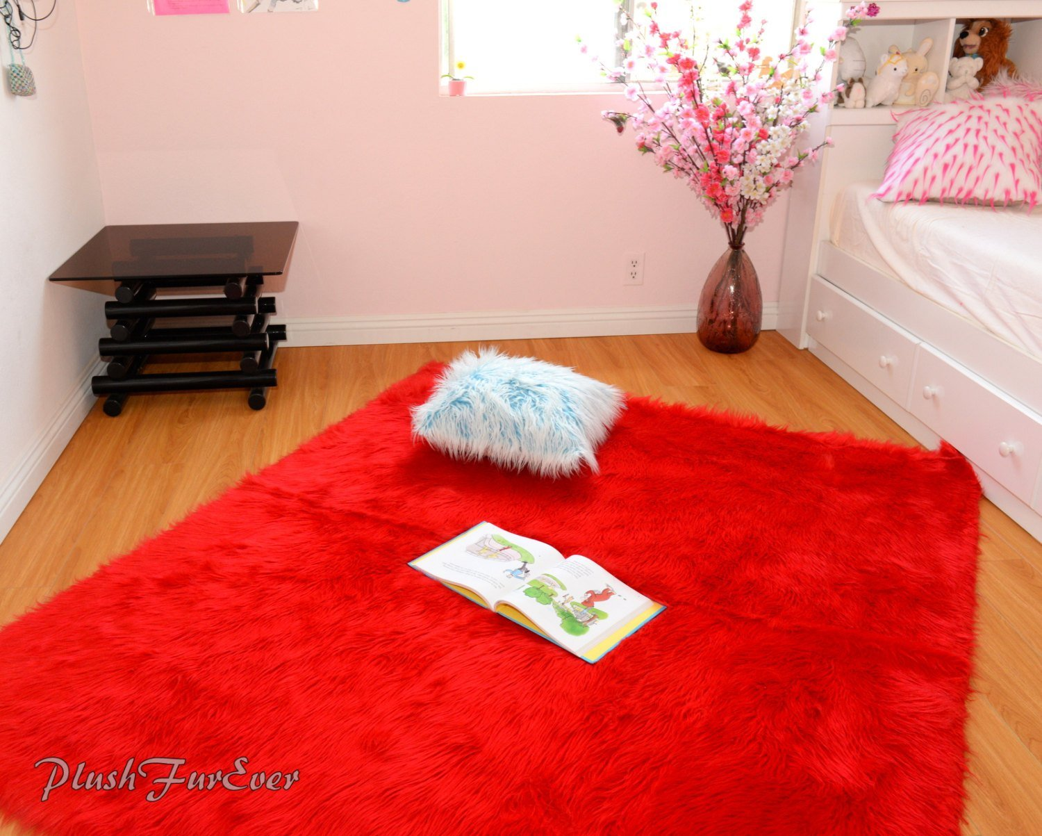 Best Red Shaggy Faux Fur Throw Rug Carpet Plush Sheepskin With Pictures