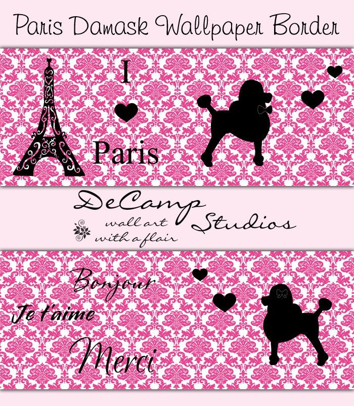 Best Paris Bedroom Decor Wallpaper Border Decals Pink Poodle Damask With Pictures