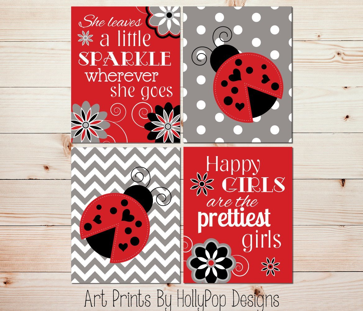 Best Ladybug Girls Room Decor Red White Black Nursery Art Baby Girl With Pictures