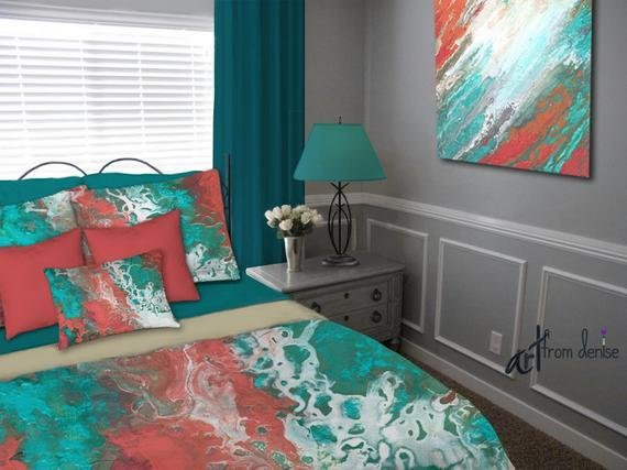 Best Teal Coral Gray Aqua Bedding Set Duvet Cover Queen King Full With Pictures