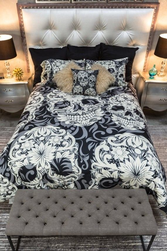 Best Featherweight Skull Bedding Sugar Skull And Scroll By With Pictures
