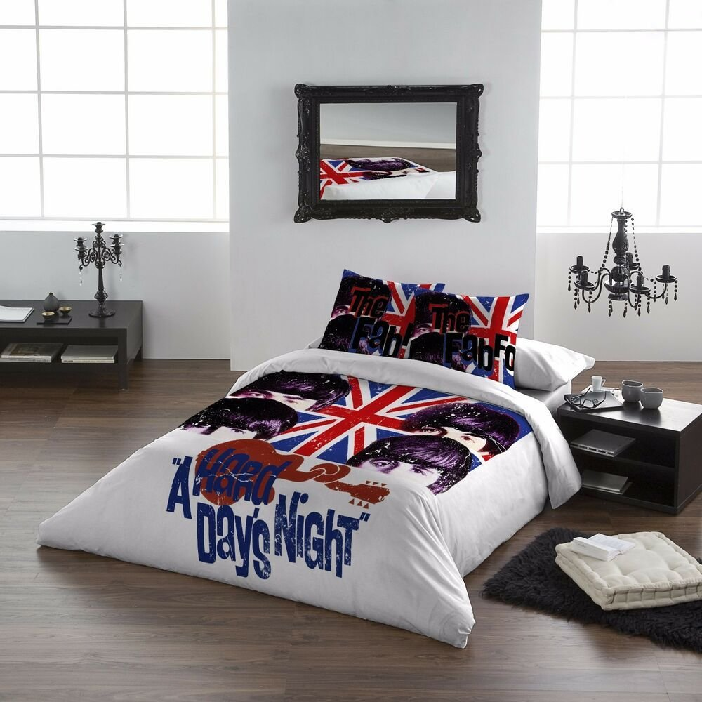 Best The Beatles Hard Days Night Duvet Pillows Cover Set With Pictures