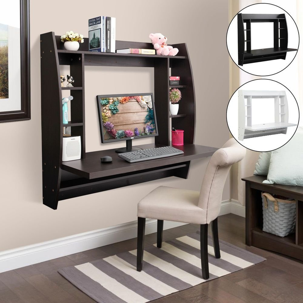 Best Computer Table Floating Wall Mount Desk With Storage Shelves Home Office Bedroom Ebay With Pictures