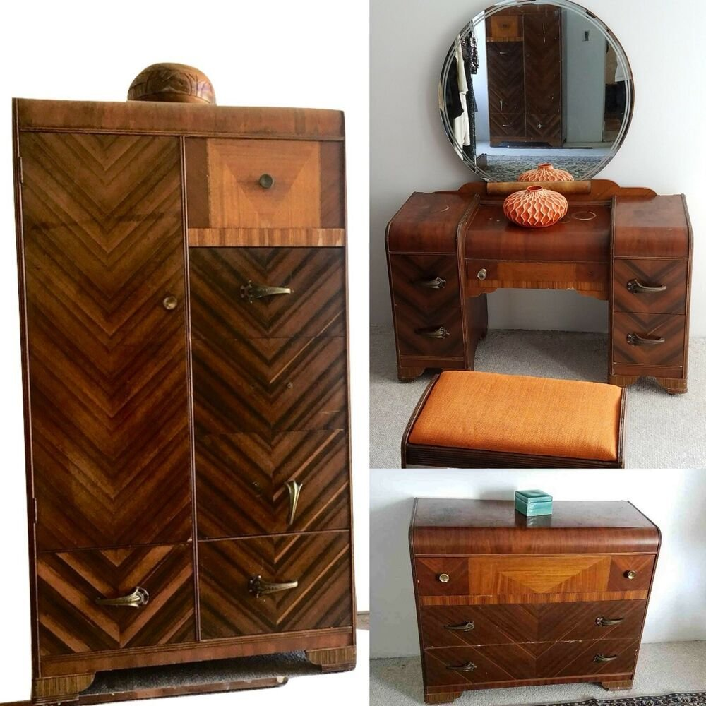 Best Antique Vintage Waterfall Art Deco 6 Piece Bedroom Set Ebay With Pictures