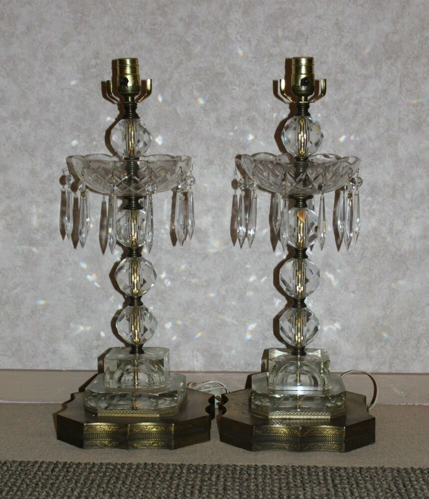 Best Vintage Bobeche Glass Lamps Pair Prisms Pressed 1960S Living Bedroom Room Retro Ebay With Pictures