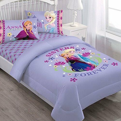Best 3 Pieces Disney Frozen Anna Elsa Purple Twin Bedding Comforter And Sheet Set 849183098882 Ebay With Pictures