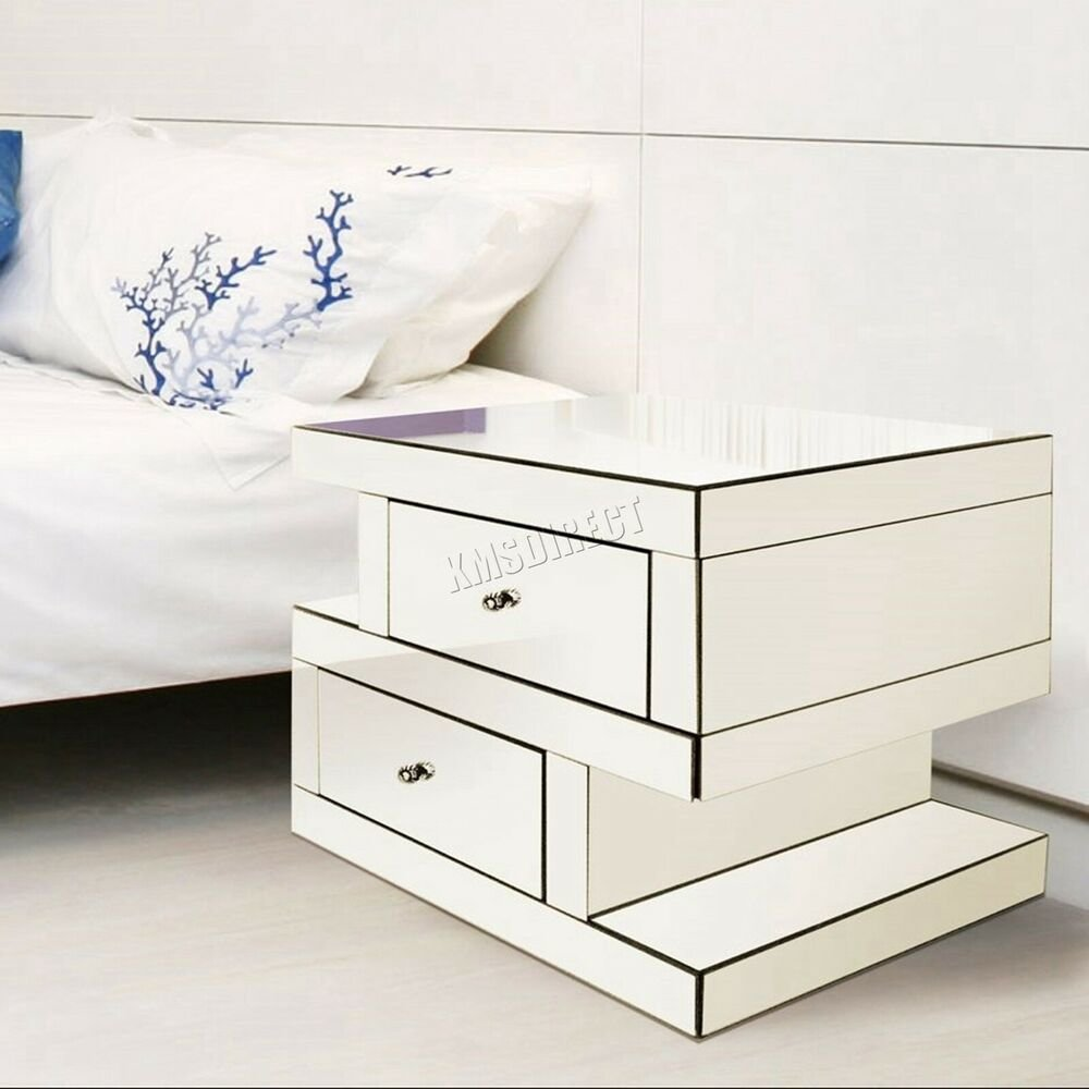 Best Westwood Mirrored Furniture Clear Glass Bedside Cabinet With Pictures
