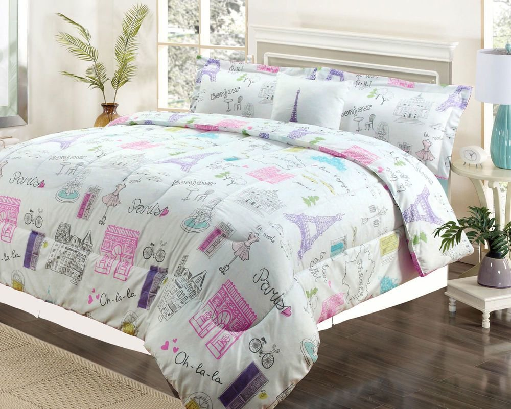 Best Twin Or Full Bedding Girls Comforter Bed Set Paris Eiffel With Pictures