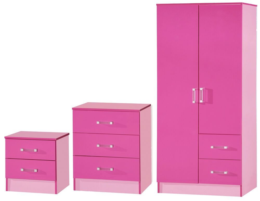 Best Pink High Gloss Two Tone 3 Piece Bedroom Set Furniture With Pictures