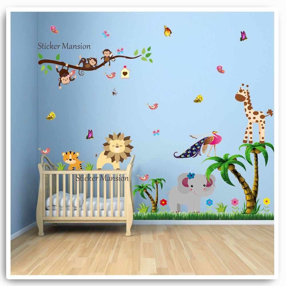 Best Animal Wall Stickers Monkey Jungle Zoo Tree Nursery Baby With Pictures