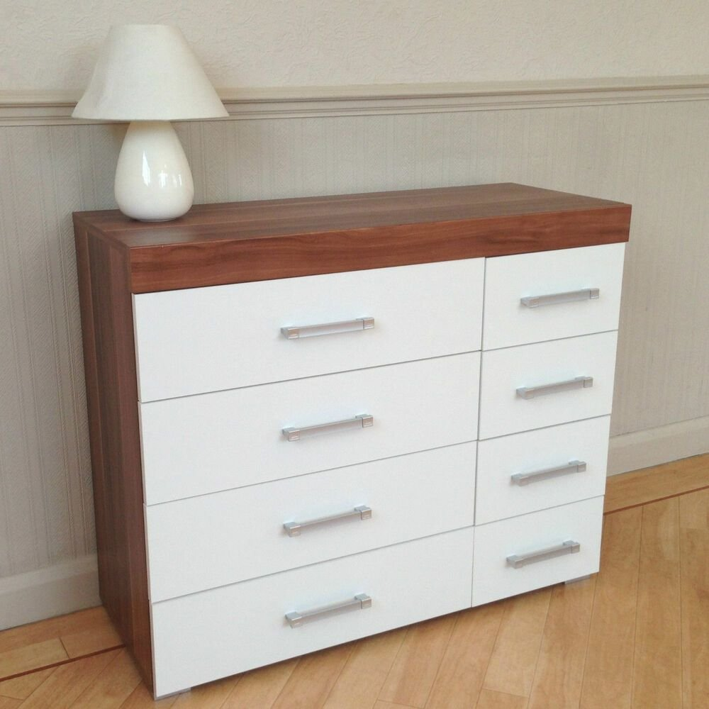 Best Wide Chest Of 4 4 Drawers In White Walnut Bedroom With Pictures
