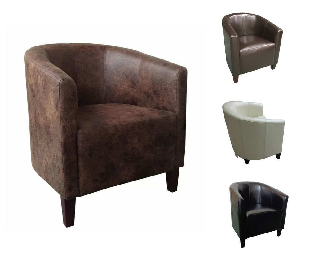 Best Luxury Leather Tub Chair Armchair For Dining Living Room Office Reception Ebay With Pictures
