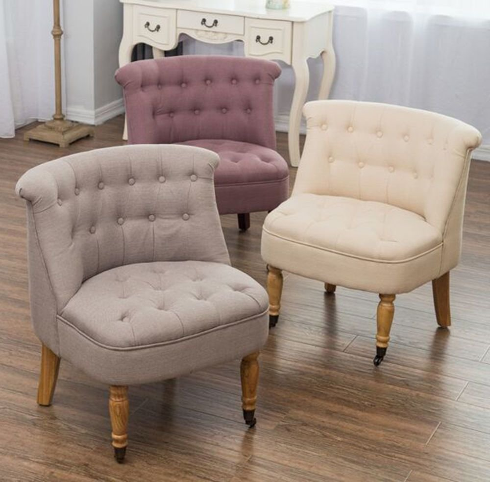 Best Bedroom Accent Chair Armchair Occasional Button Back Linen With Pictures