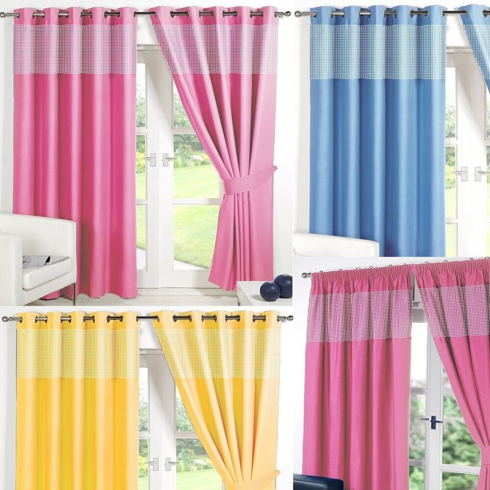 Best Gingham Kids Bedroom Curtains Thermal Blackout Curtain Eyelet Or Pencil Pleat Ebay With Pictures