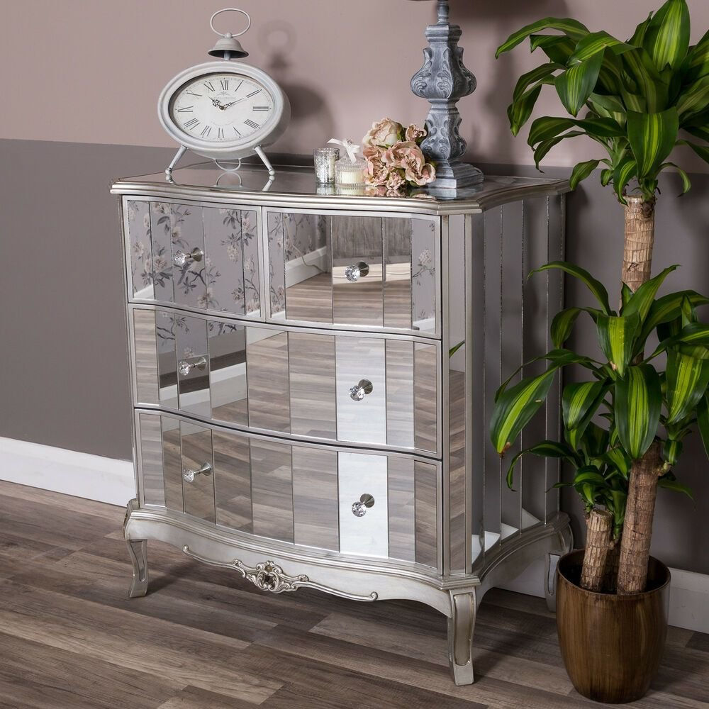 Best Mirrored Chest Of Drawers Silver Venetian Glass Bedroom With Pictures