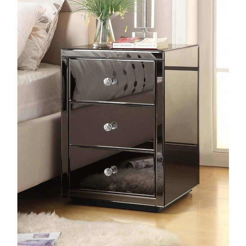 Best Roma Smoke Mirror Bedside Table Chest 3 Drawer Mirrored Furniture With Pictures
