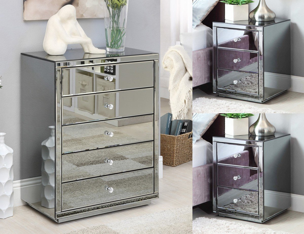Best Vegas Smoke Mirrored Bedside Tables Tallboy Package Mirror Furniture Ebay With Pictures