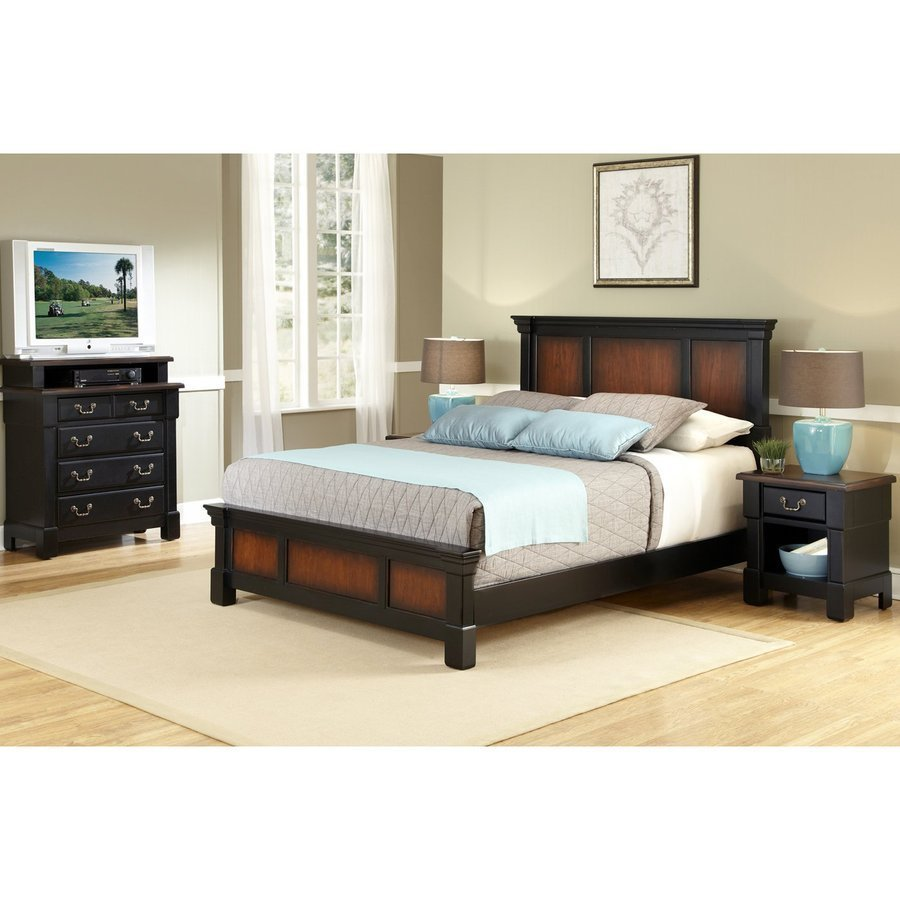 Best Home Styles Aspen Rustic Cherry Black Full Queen Bedroom Set At Lowes Com With Pictures