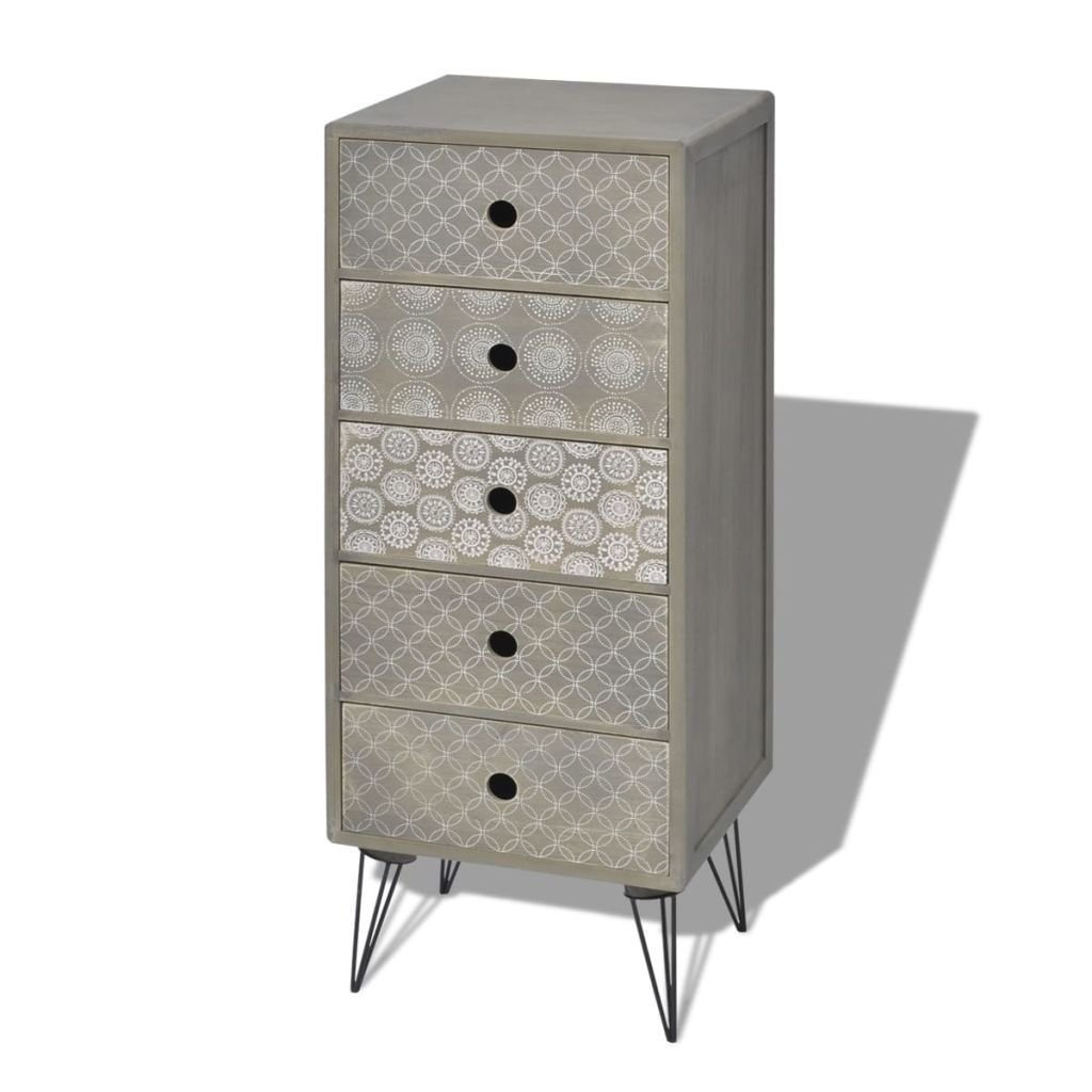 Best Vidaxl Side Cabinet 5 Drawers Grey Storage Sideboard With Pictures