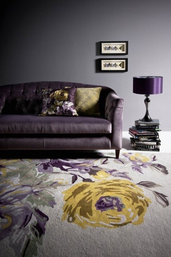 Best Purple Grey And Yellow Floral Rug On The Hunt With Pictures