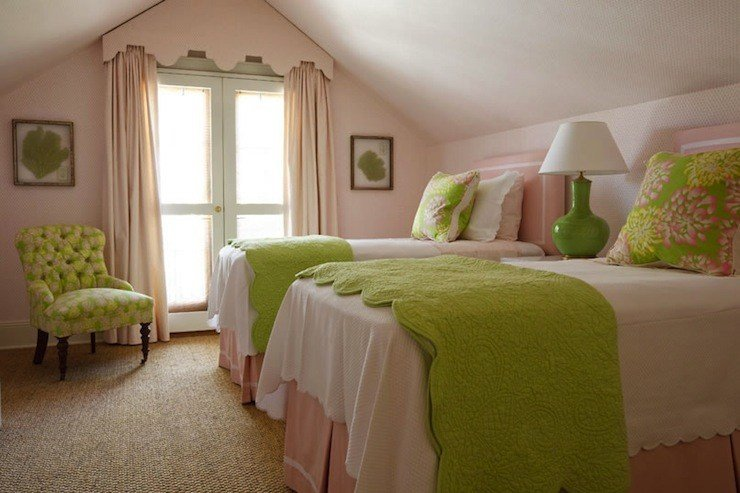Best Pink And Green Girl S Bedding Traditional Girl S Room With Pictures