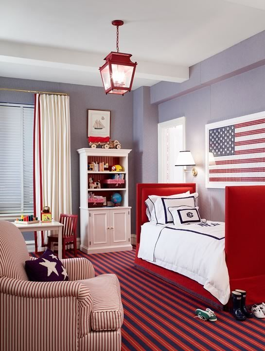 Best Red White And Blue Boy S Room Traditional Boy S Room With Pictures