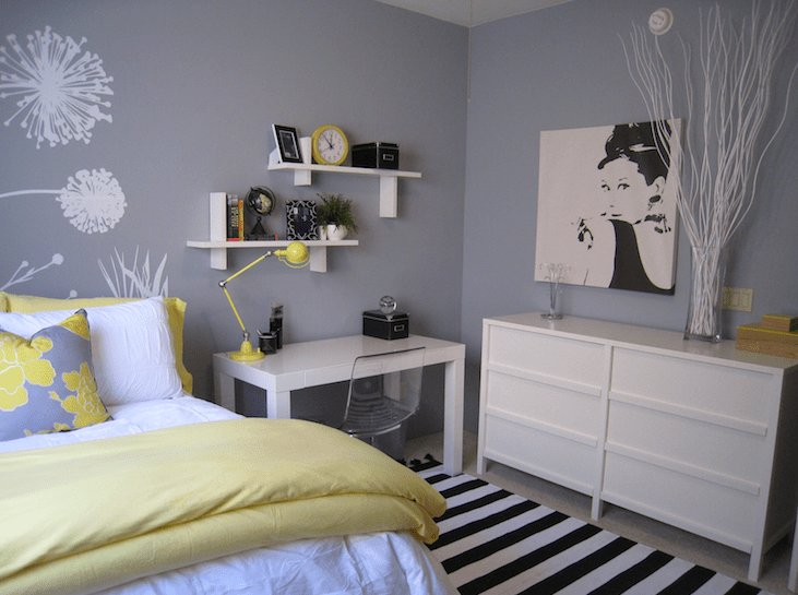 Best Yellow And Gray Bedroom Contemporary Bedroom With Pictures