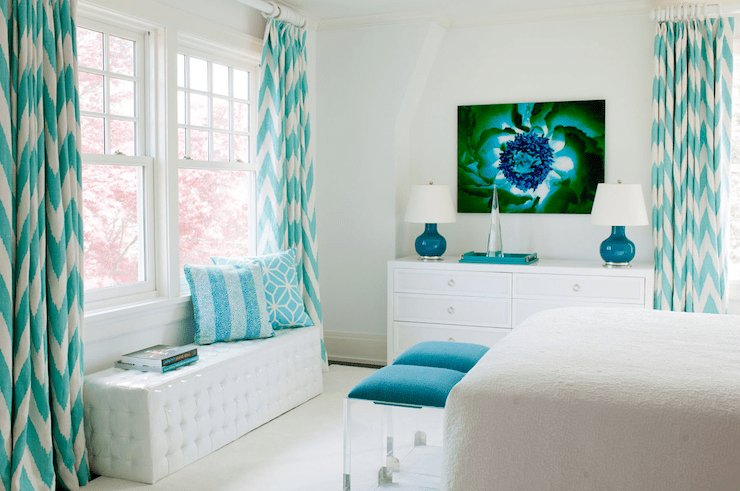 Best Turquoise Drapes Contemporary Bedroom Amanda Nisbet With Pictures