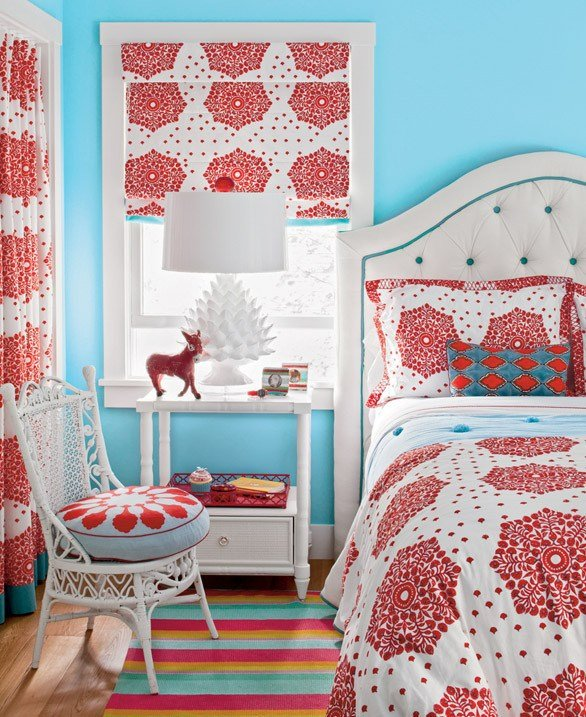 Best Blue And Red Girl S Room Contemporary Girl S Room With Pictures