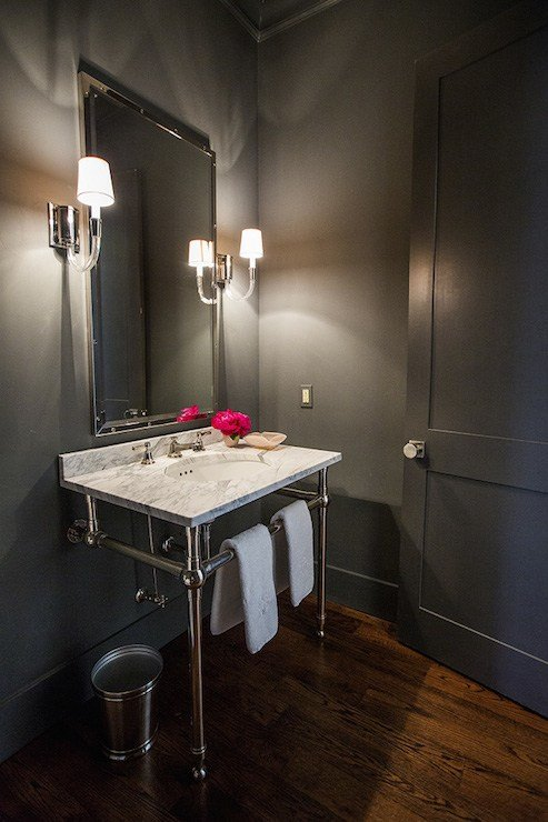 Best Gray Powder Rooms Transitional Bathroom Hallie With Pictures
