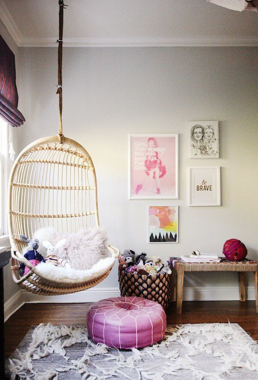 Best Hanging Chair For Kids Room Contemporary Girl S Room With Pictures