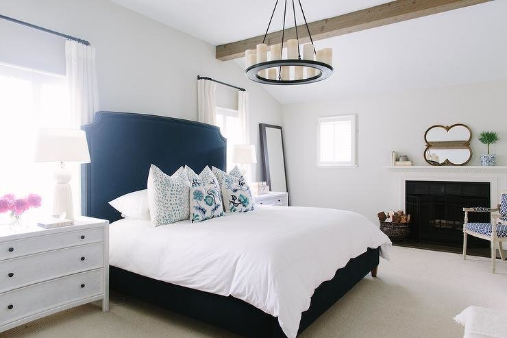 Best White And Navy Bedroom With Fireplace Contemporary With Pictures