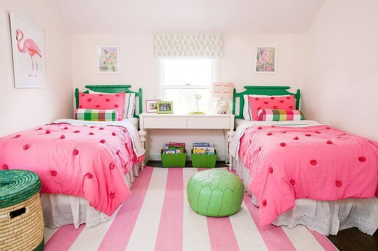 Best Pink And Green Girls Bedroom With Pink Rugby Striped Rug Contemporary Girl S Room With Pictures