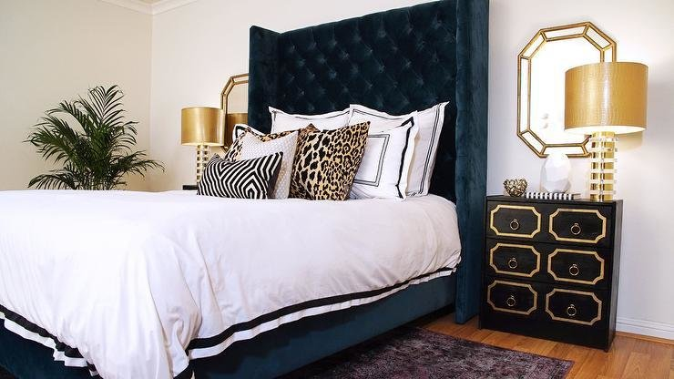 Best Navy Blue And Gold Bedroom With Dorothy Draper Style Nightstands Hollywood Regency Bedroom With Pictures